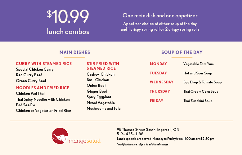Lunch Specials Mango Salad
